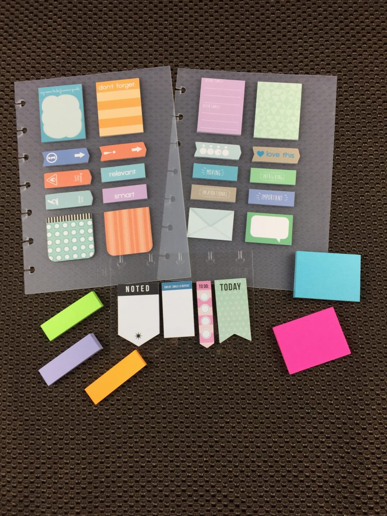 Post-its in multiple sizes, shapes, colors and patterns.